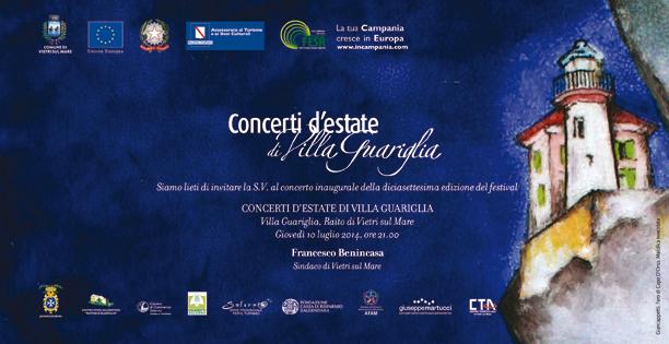 invito Concerti d'Estate di Villa Guariglia 2014