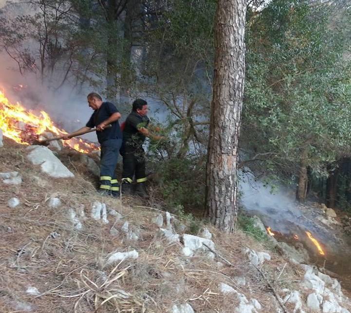 emergenza incendi e operai idraulico-forestali